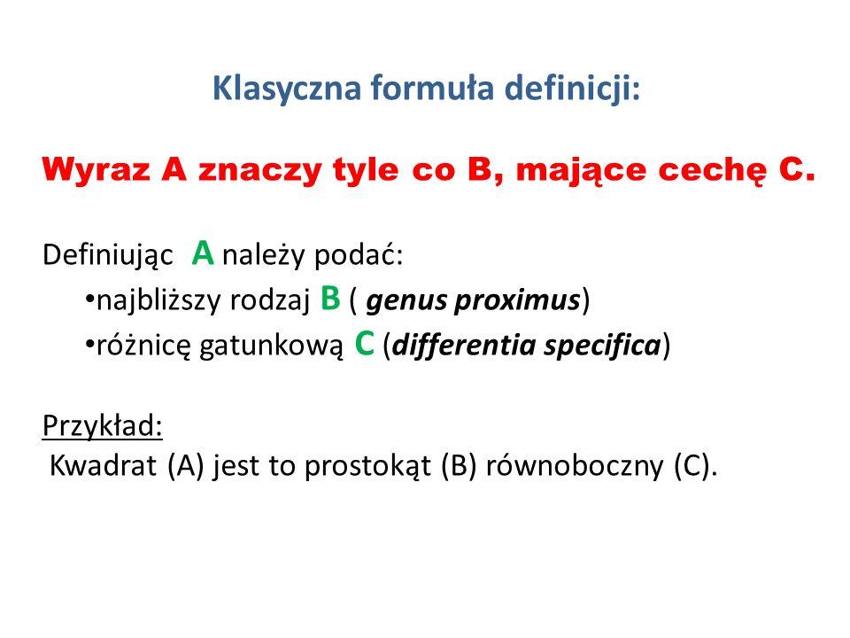 Klasyczna formuła definicji: Wyraz A znaczy tyle co B, mające cechę C.