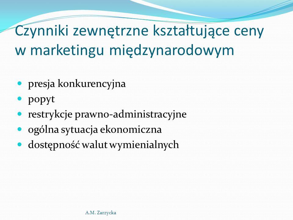 Czynniki zewnętrzne kształtujące ceny w marketingu międzynarodowym presja konkurencyjna popyt restrykcje prawno-administracyjne ogólna sytuacja ekonomiczna dostępność walut wymienialnych A.M.
