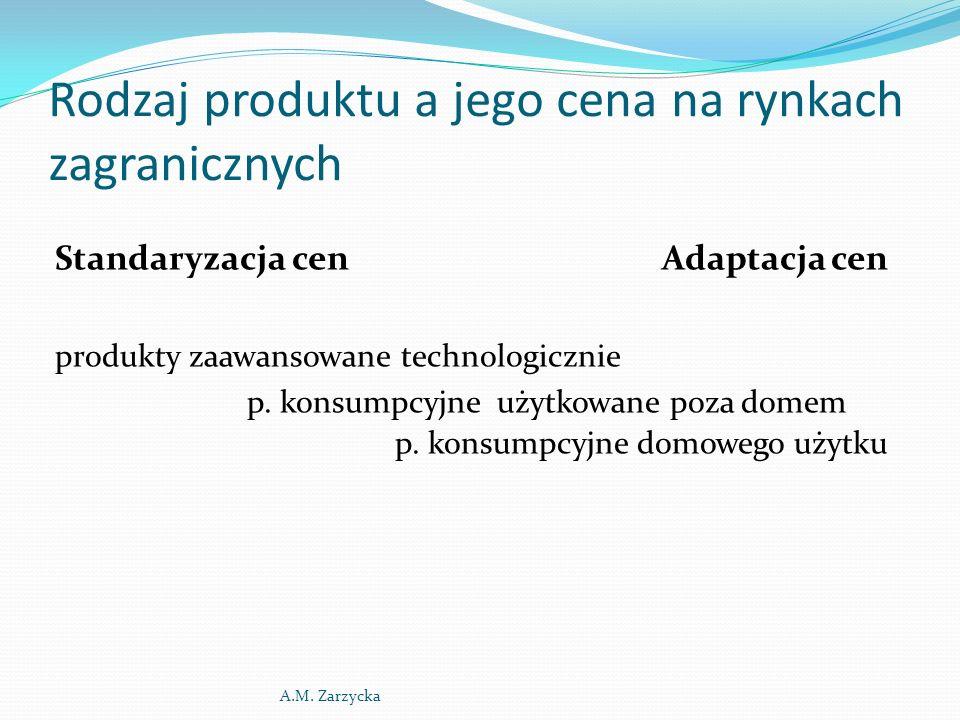 Rodzaj produktu a jego cena na rynkach zagranicznych Standaryzacja cen Adaptacja cen produkty zaawansowane technologicznie p.
