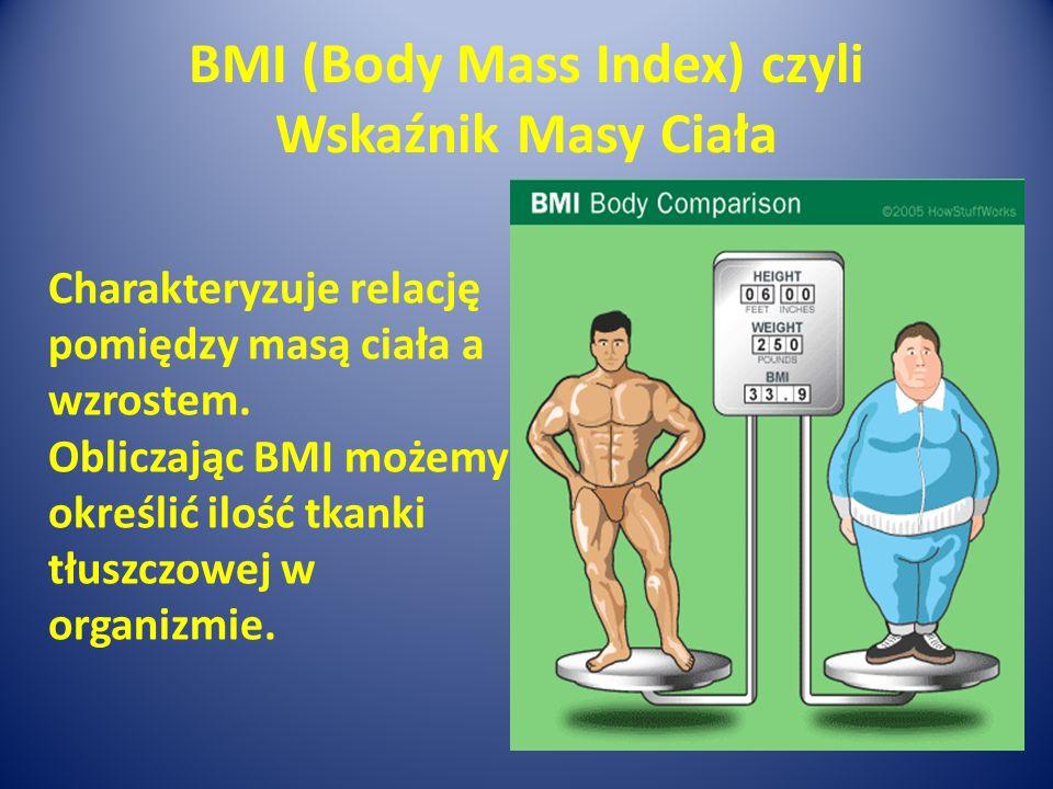 BMI (Body Mass Index) czyli Wskaźnik Masy Ciała Charakteryzuje relację pomiędzy masą ciała a wzrostem. Obliczając BMI możemy określić ilość tkanki tłu