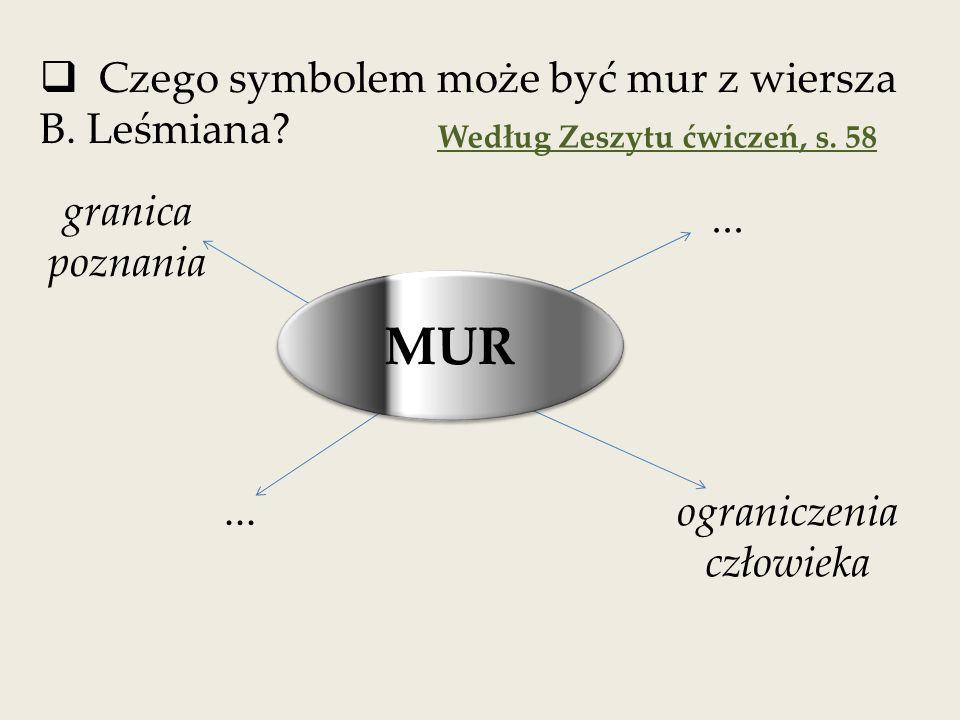  Czego symbolem może być mur z wiersza B.Leśmiana.