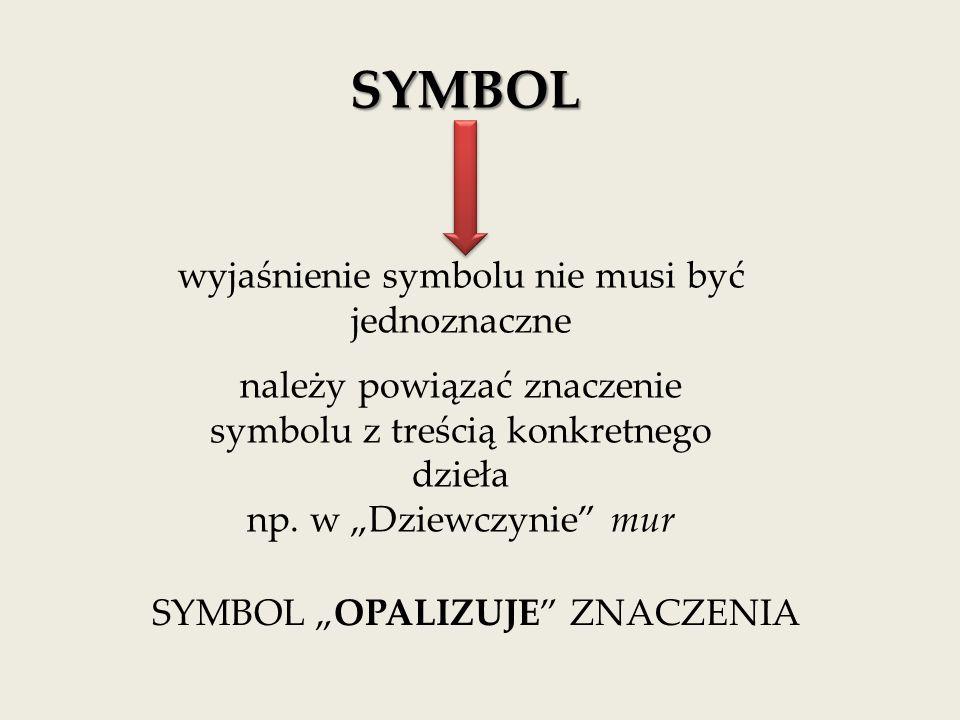 SYMBOL wyjaśnienie symbolu nie musi być jednoznaczne należy powiązać znaczenie symbolu z treścią konkretnego dzieła np.