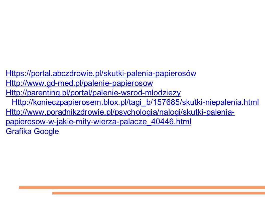 Źródła: Https://portal.abczdrowie.pl/skutki-palenia-papierosów Http://www.gd-med.pl/palenie-papierosow Http://parenting.pl/portal/palenie-wsrod-mlodziezy Http://konieczpapierosem.blox.pl/tagi_b/157685/skutki-niepalenia.html Http://www.poradnikzdrowie.pl/psychologia/nalogi/skutki-palenia- papierosow-w-jakie-mity-wierza-palacze_40446.html Grafika Google