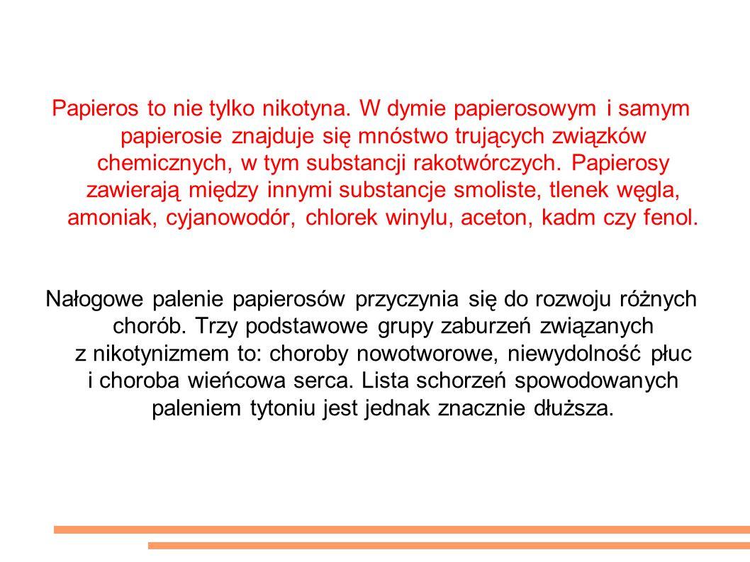 Wpływ palenia papierosów na zdrowie Papieros to nie tylko nikotyna.