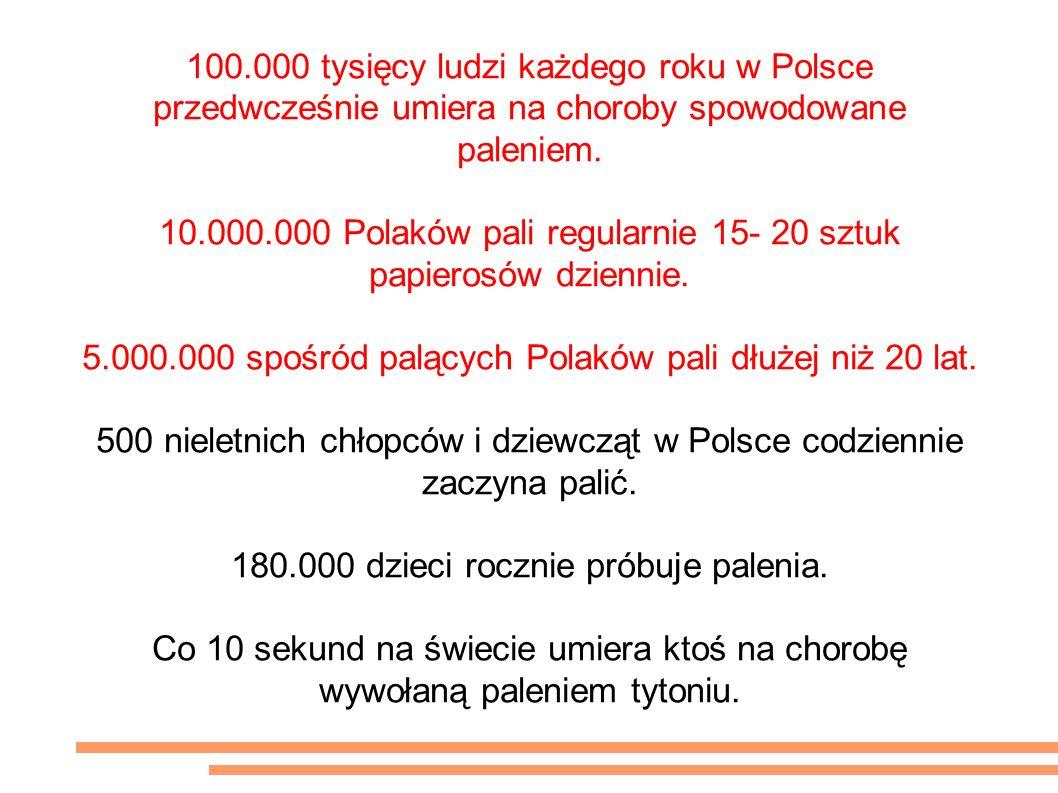100.000 tysięcy ludzi każdego roku w Polsce przedwcześnie umiera na choroby spowodowane paleniem.