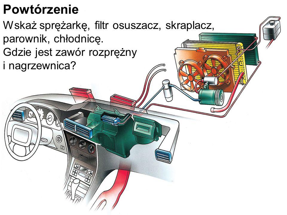 Powtórzenie Wskaż sprężarkę, filtr osuszacz, skraplacz, parownik, chłodnicę. Gdzie jest zawór rozprężny i nagrzewnica?