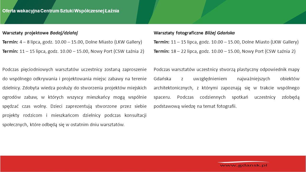 Oferta wakacyjna Centrum Sztuki Współczesnej Łaźnia Warsztaty projektowe Badaj/działaj Termin: 4 – 8 lipca, godz.