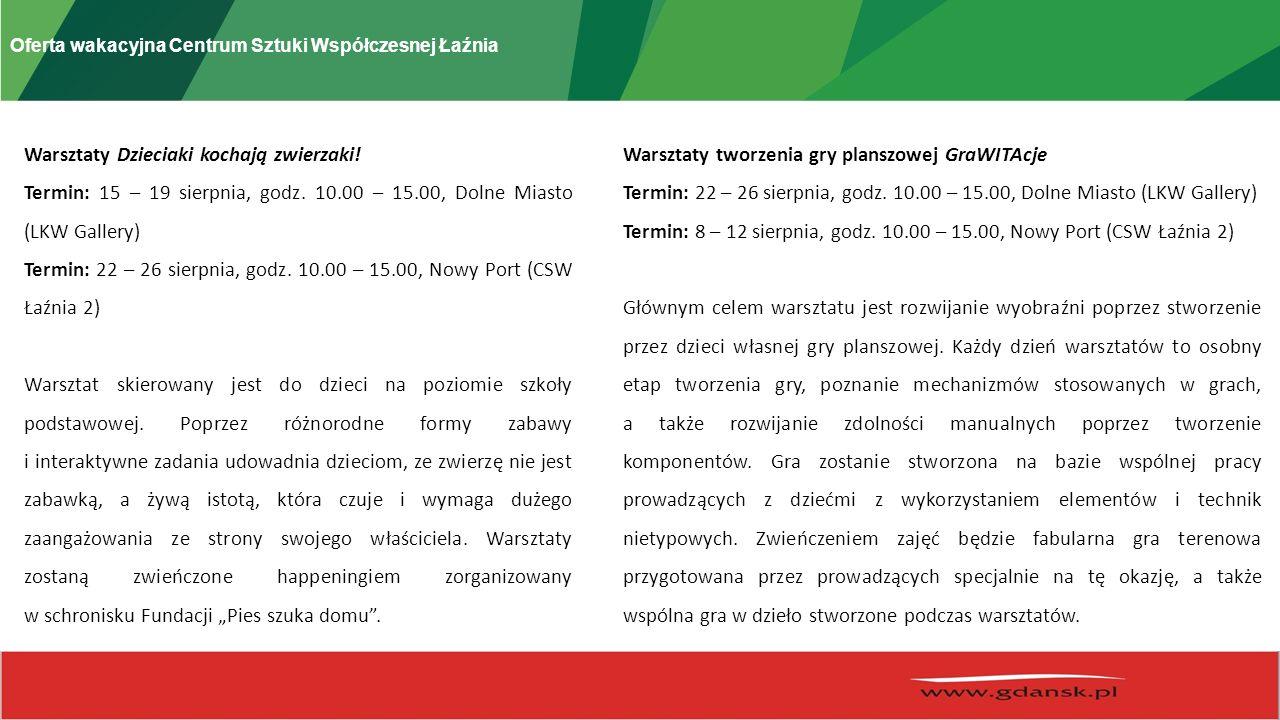 Oferta wakacyjna Centrum Sztuki Współczesnej Łaźnia Warsztaty Dzieciaki kochają zwierzaki.