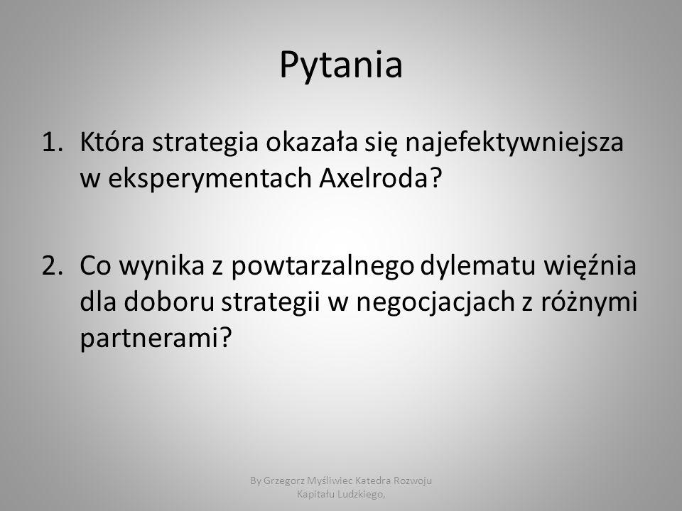 Pytania 1.Która strategia okazała się najefektywniejsza w eksperymentach Axelroda.