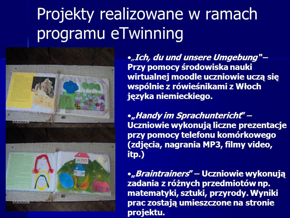 """Projekty realizowane w ramach programu eTwinning """"Ich, du und unsere Umgebung – Przy pomocy środowiska nauki wirtualnej moodle uczniowie uczą się wspólnie z rówieśnikami z Włoch języka niemieckiego."""