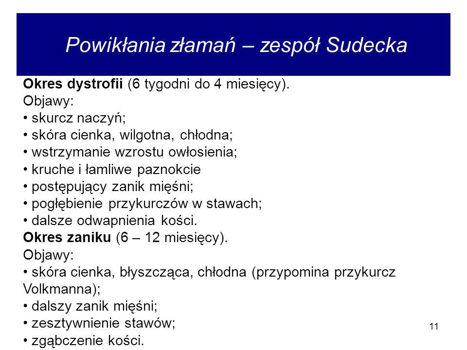 11 Powikłania złamań – zespół Sudecka Okres dystrofii (6 tygodni do 4 miesięcy).