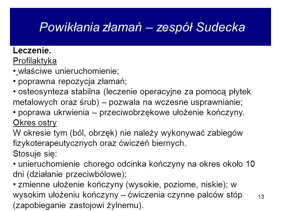 13 Powikłania złamań – zespół Sudecka Leczenie.