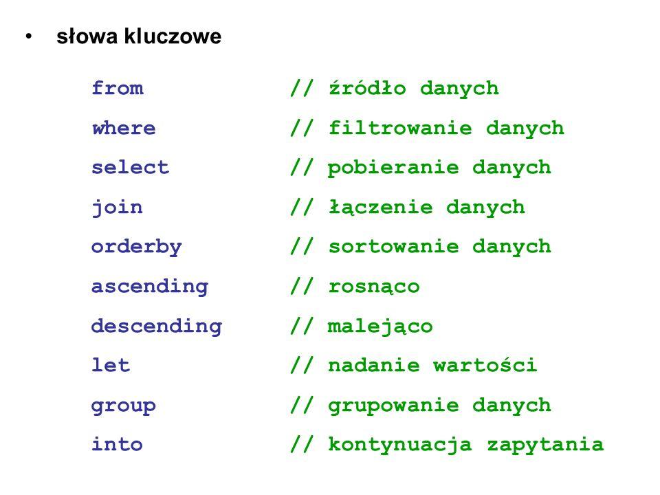 słowa kluczowe from// źródło danych where// filtrowanie danych select // pobieranie danych join // łączenie danych orderby // sortowanie danych ascend