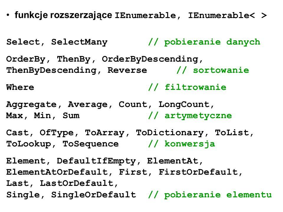 funkcje rozszerzające IEnumerable, IEnumerable Select, SelectMany// pobieranie danych OrderBy, ThenBy, OrderByDescending, ThenByDescending, Reverse//