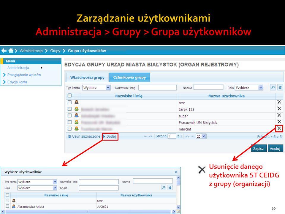 10 Usunięcie danego użytkownika ST CEIDG z grupy (organizacji)