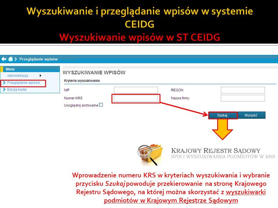 Wprowadzenie numeru KRS w kryteriach wyszukiwania i wybranie przycisku Szukaj powoduje przekierowanie na stronę Krajowego Rejestru Sądowego, na której