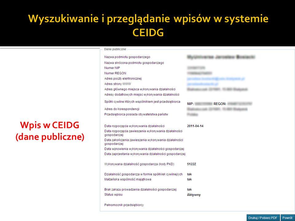 13 Wpis w CEIDG (dane publiczne)
