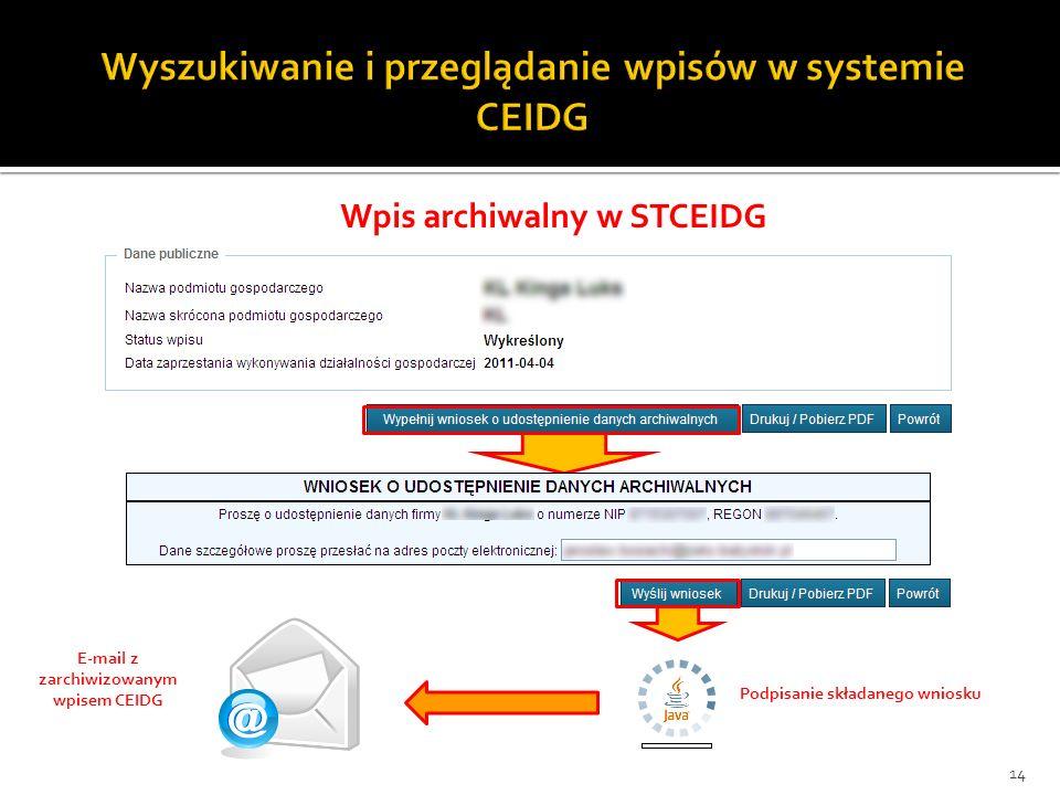 14 Wpis archiwalny w STCEIDG Podpisanie składanego wniosku E-mail z zarchiwizowanym wpisem CEIDG