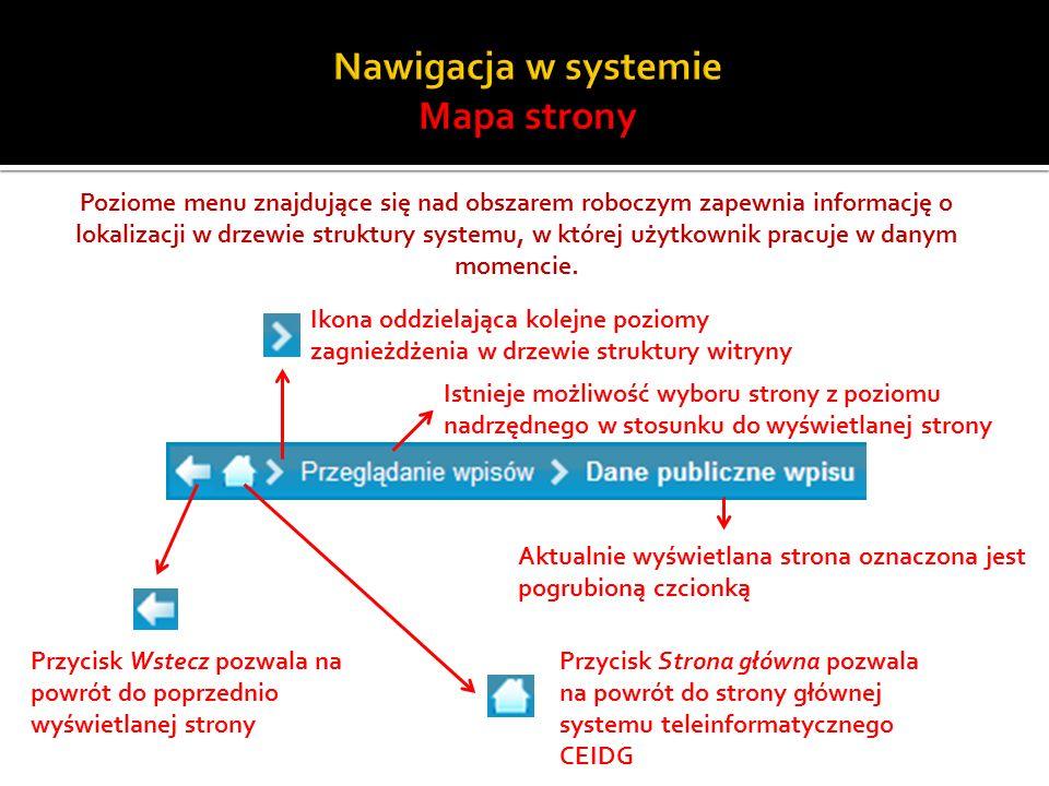 Poziome menu znajdujące się nad obszarem roboczym zapewnia informację o lokalizacji w drzewie struktury systemu, w której użytkownik pracuje w danym m