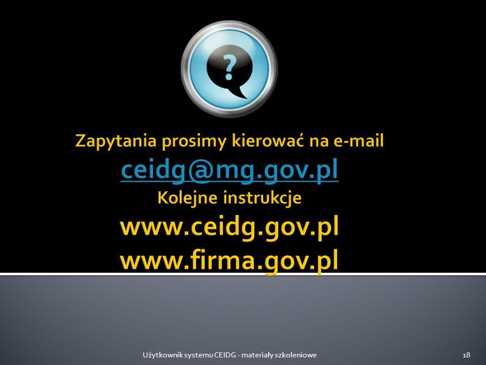 Użytkownik systemu CEIDG - materiały szkoleniowe18