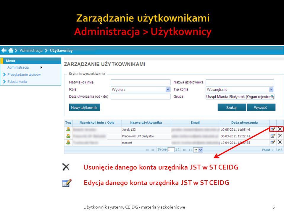 Użytkownik systemu CEIDG - materiały szkoleniowe6 Usunięcie danego konta urzędnika JST w ST CEIDG Edycja danego konta urzędnika JST w ST CEIDG