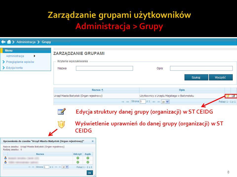 8 Wyświetlenie uprawnień do danej grupy (organizacji) w ST CEIDG Edycja struktury danej grupy (organizacji) w ST CEIDG