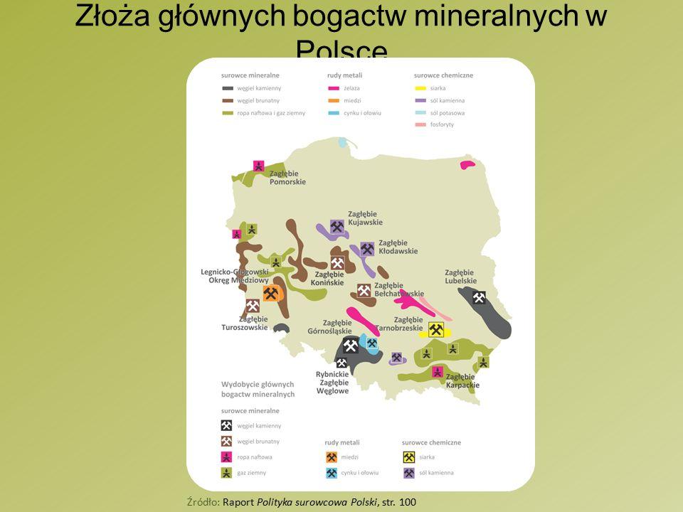 Złoża głównych bogactw mineralnych w Polsce Źródło: Raport Polityka surowcowa Polski, str. 100