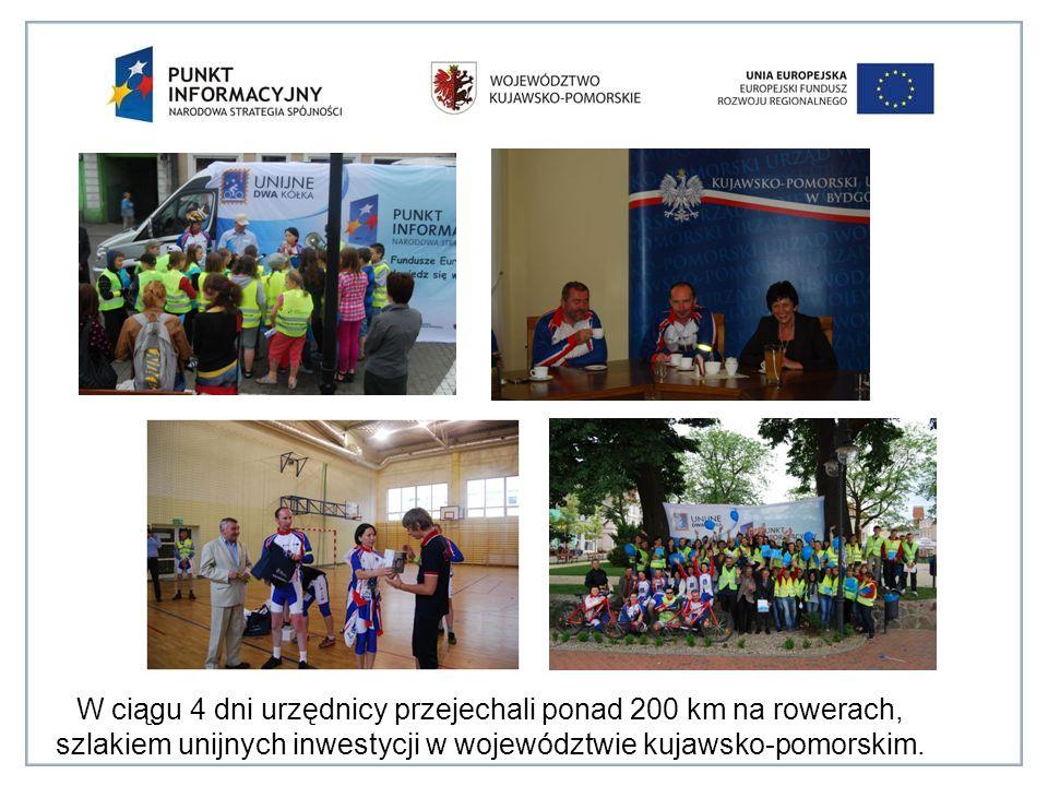 W ciągu 4 dni urzędnicy przejechali ponad 200 km na rowerach, szlakiem unijnych inwestycji w województwie kujawsko-pomorskim.