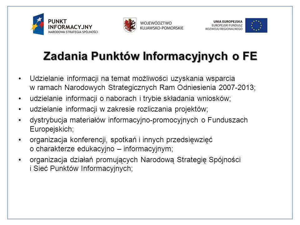 Zadania Punktów Informacyjnych o FE Udzielanie informacji na temat możliwości uzyskania wsparcia w ramach Narodowych Strategicznych Ram Odniesienia 2007-2013; udzielanie informacji o naborach i trybie składania wniosków; udzielanie informacji w zakresie rozliczania projektów; dystrybucja materiałów informacyjno-promocyjnych o Funduszach Europejskich; organizacja konferencji, spotkań i innych przedsięwzięć o charakterze edukacyjno – informacyjnym; organizacja działań promujących Narodową Strategię Spójności i Sieć Punktów Informacyjnych;