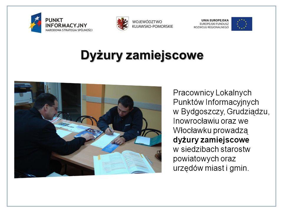 Dyżury zamiejscowe Pracownicy Lokalnych Punktów Informacyjnych w Bydgoszczy, Grudziądzu, Inowrocławiu oraz we Włocławku prowadzą dyżury zamiejscowe w siedzibach starostw powiatowych oraz urzędów miast i gmin.