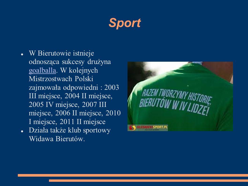 Sport W Bierutowie istnieje odnosząca sukcesy drużyna goalballa. W kolejnych Mistrzostwach Polski zajmowała odpowiedni : 2003 III miejsce, 2004 II mie