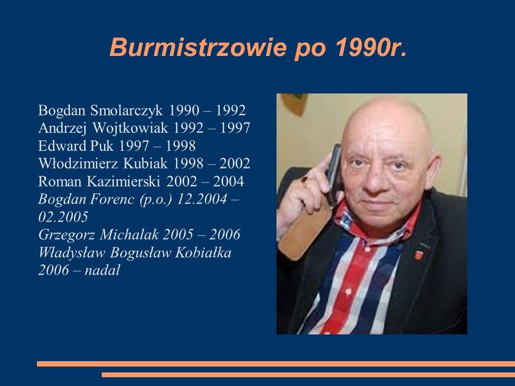 Burmistrzowie po 1990r. Bogdan Smolarczyk 1990 – 1992 Andrzej Wojtkowiak 1992 – 1997 Edward Puk 1997 – 1998 Włodzimierz Kubiak 1998 – 2002 Roman Kazim