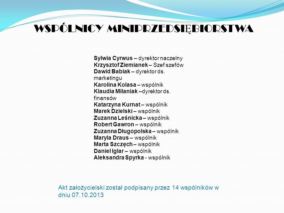 WSPÓLNICY MINIPRZEDSI Ę BIORSTWA Akt założycielski został podpisany przez 14 wspólników w dniu 07.10.2013 Sylwia Cyrwus – dyrektor naczelny Krzysztof Ziemianek – Szef szefów Dawid Babiak – dyrektor ds.