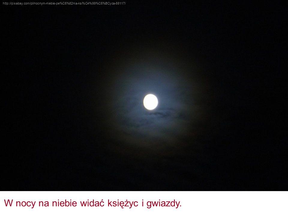 W nocy na niebie widać księżyc i gwiazdy.