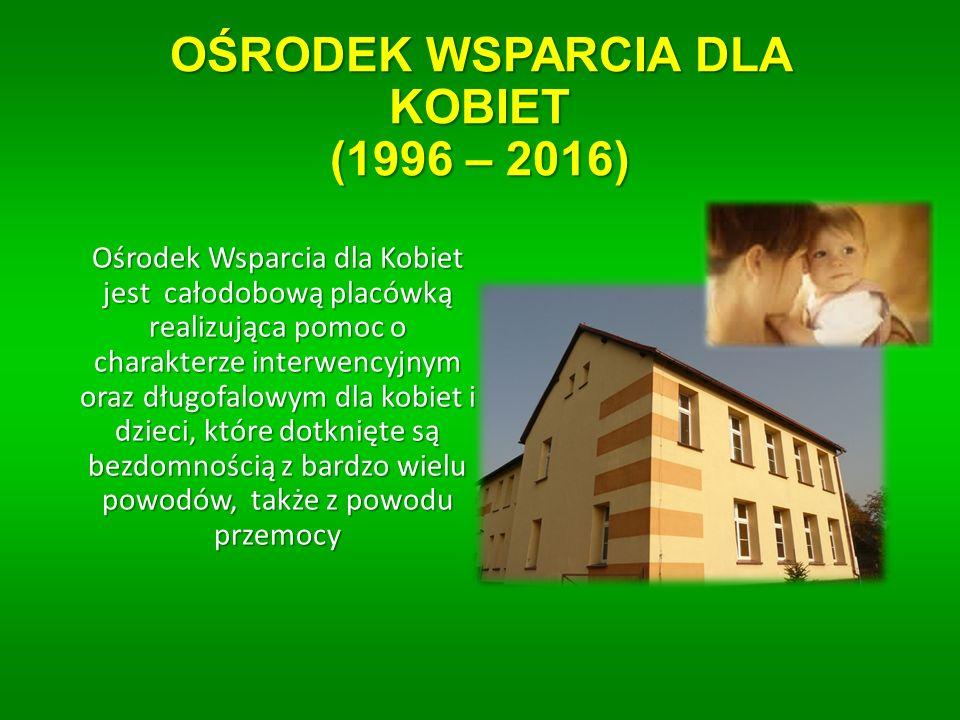 OŚRODEK WSPARCIA DLA KOBIET (1996 – 2016) Ośrodek Wsparcia dla Kobiet jest całodobową placówką realizująca pomoc o charakterze interwencyjnym oraz długofalowym dla kobiet i dzieci, które dotknięte są bezdomnością z bardzo wielu powodów, także z powodu przemocy