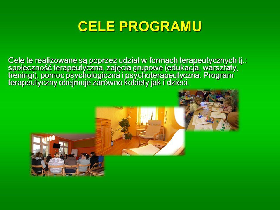 Cele te realizowane są poprzez udział w formach terapeutycznych tj.: społeczność terapeutyczna, zajęcia grupowe (edukacja, warsztaty, treningi), pomoc psychologiczna i psychoterapeutyczna.