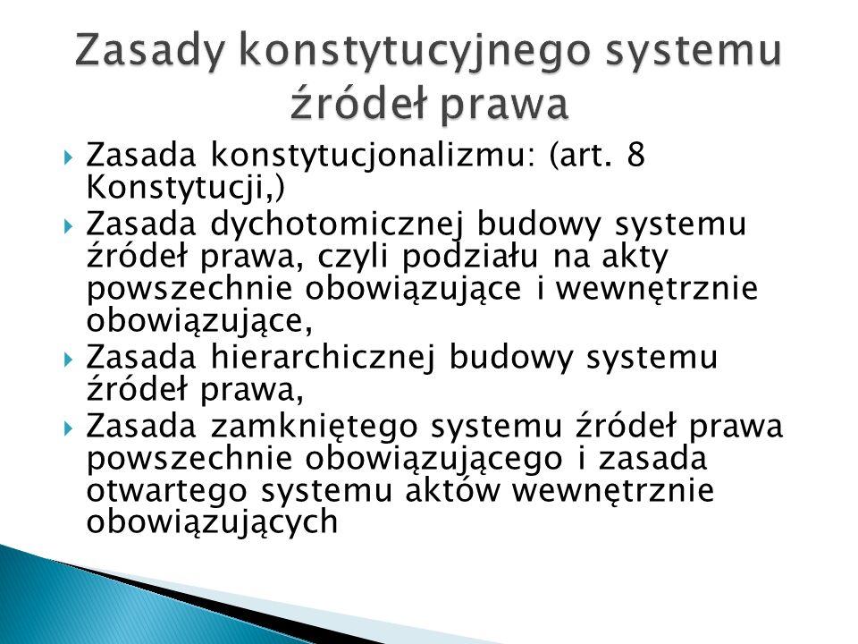  Zasada konstytucjonalizmu: (art.