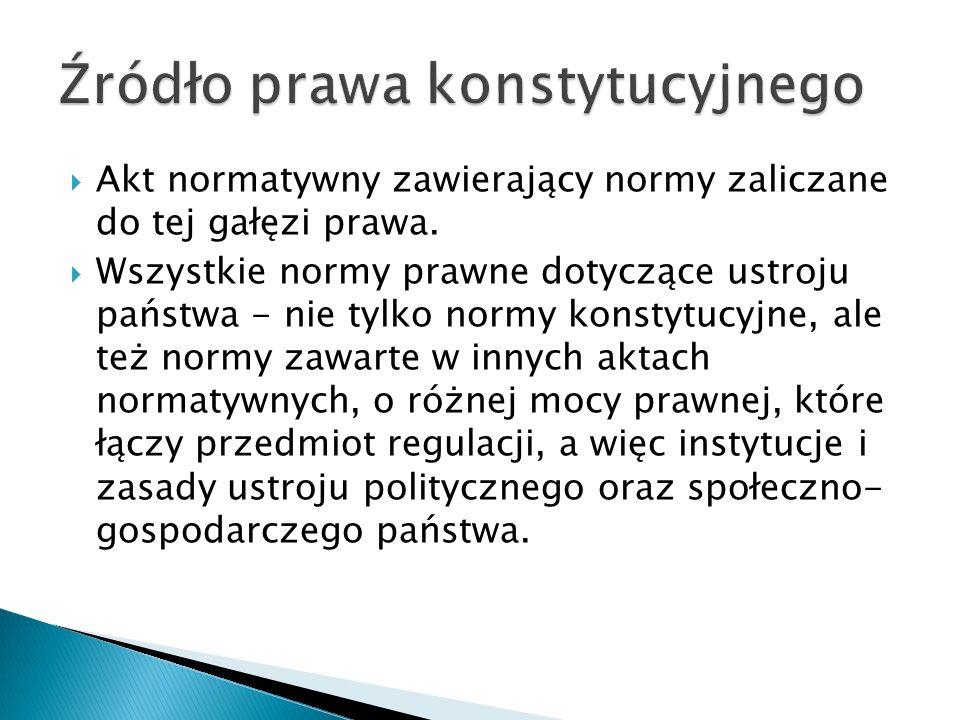  Akt normatywny zawierający normy zaliczane do tej gałęzi prawa.