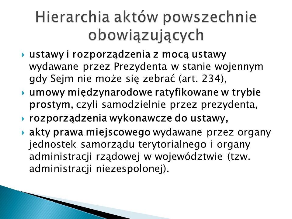  ustawy i rozporządzenia z mocą ustawy wydawane przez Prezydenta w stanie wojennym gdy Sejm nie może się zebrać (art.