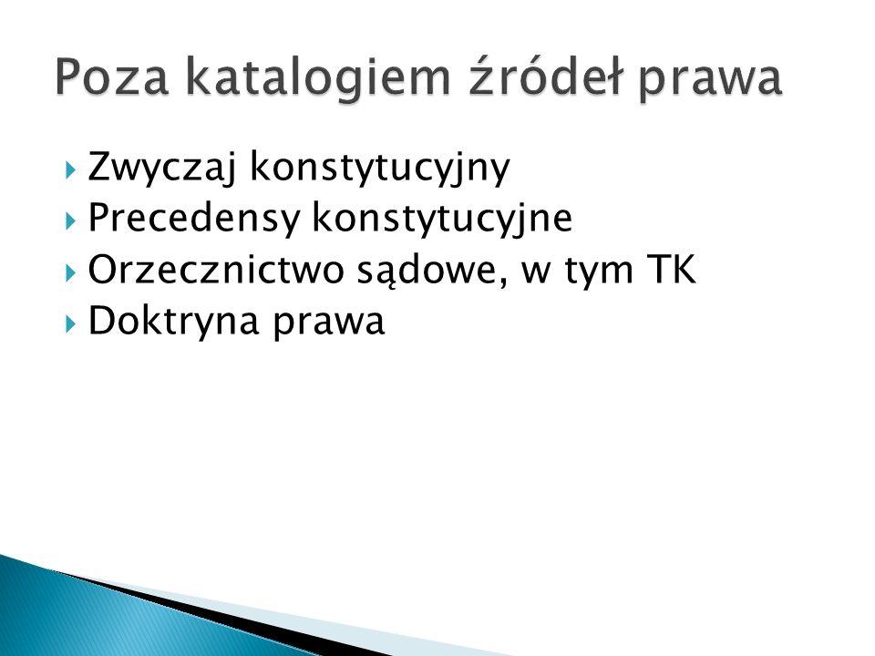  Zwyczaj konstytucyjny  Precedensy konstytucyjne  Orzecznictwo sądowe, w tym TK  Doktryna prawa