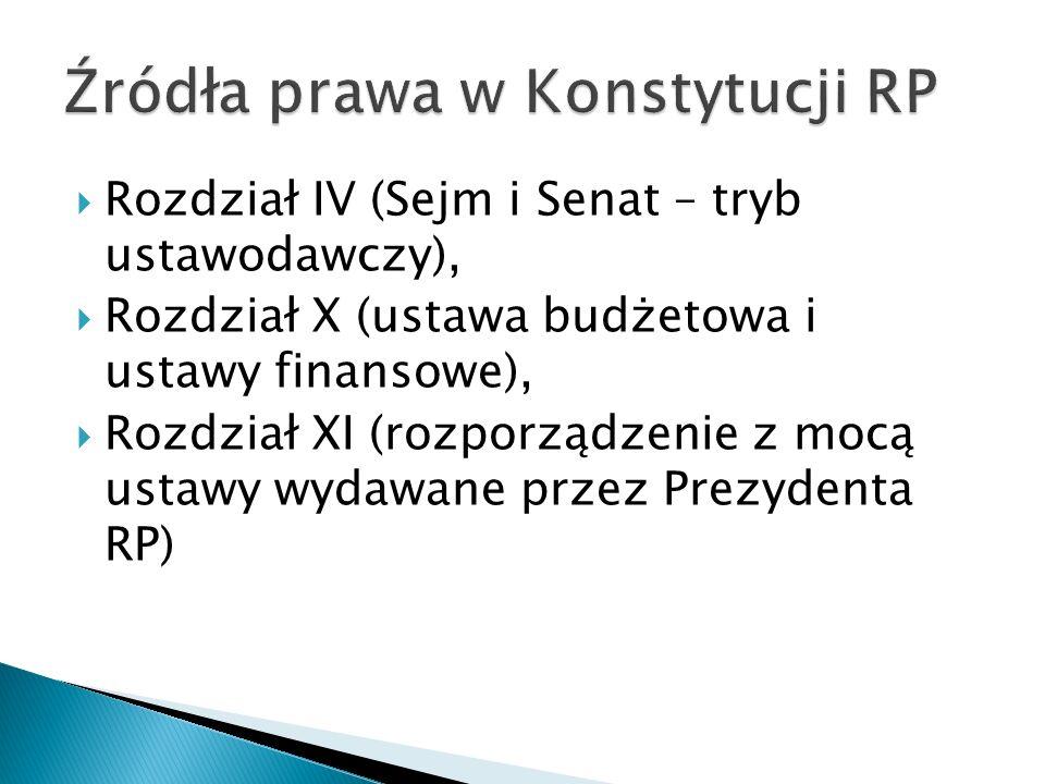  Rozdział IV (Sejm i Senat – tryb ustawodawczy),  Rozdział X (ustawa budżetowa i ustawy finansowe),  Rozdział XI (rozporządzenie z mocą ustawy wydawane przez Prezydenta RP)