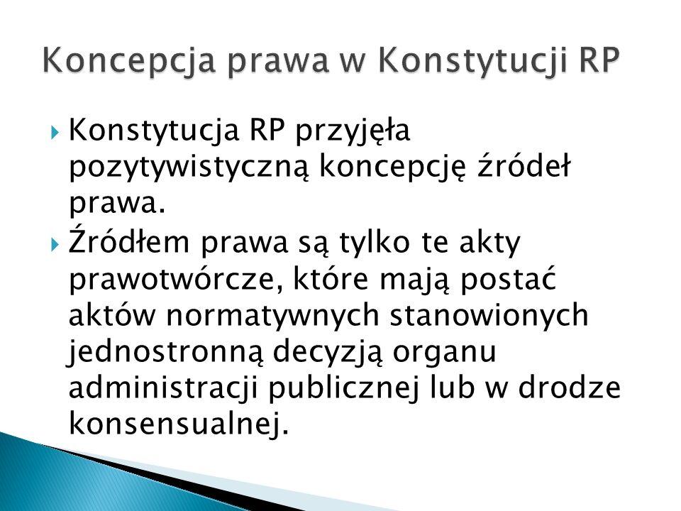 Konstytucja RP przyjęła pozytywistyczną koncepcję źródeł prawa.