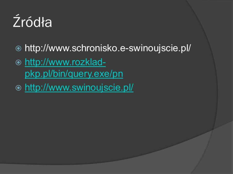 Źródła  http://www.schronisko.e-swinoujscie.pl/  http://www.rozklad- pkp.pl/bin/query.exe/pn http://www.rozklad- pkp.pl/bin/query.exe/pn  http://www.swinoujscie.pl/ http://www.swinoujscie.pl/