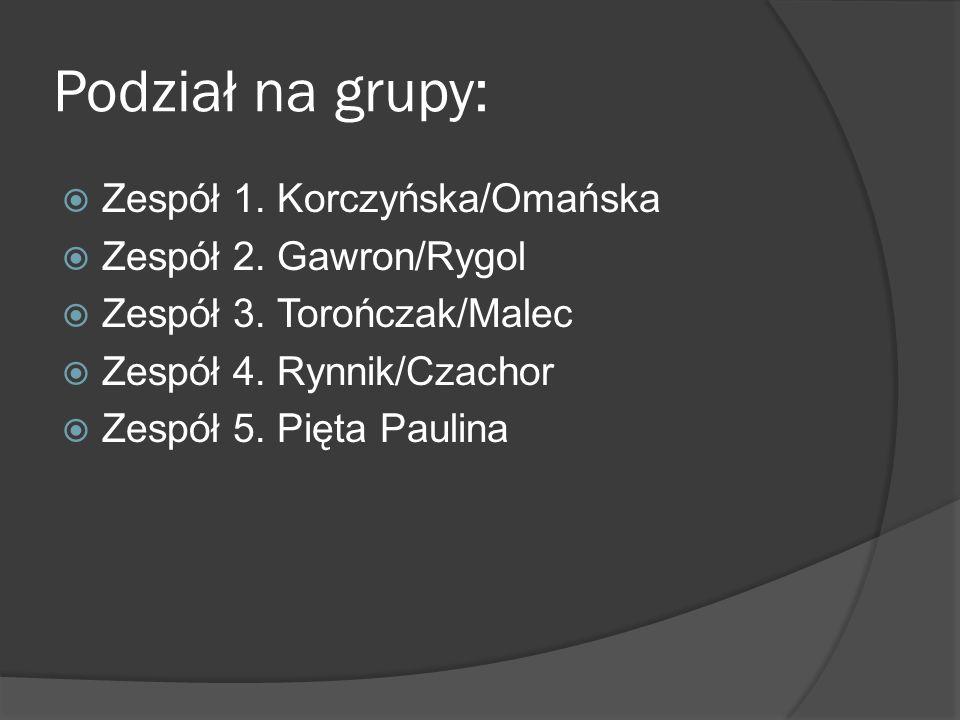 Podział na grupy:  Zespół 1. Korczyńska/Omańska  Zespół 2.