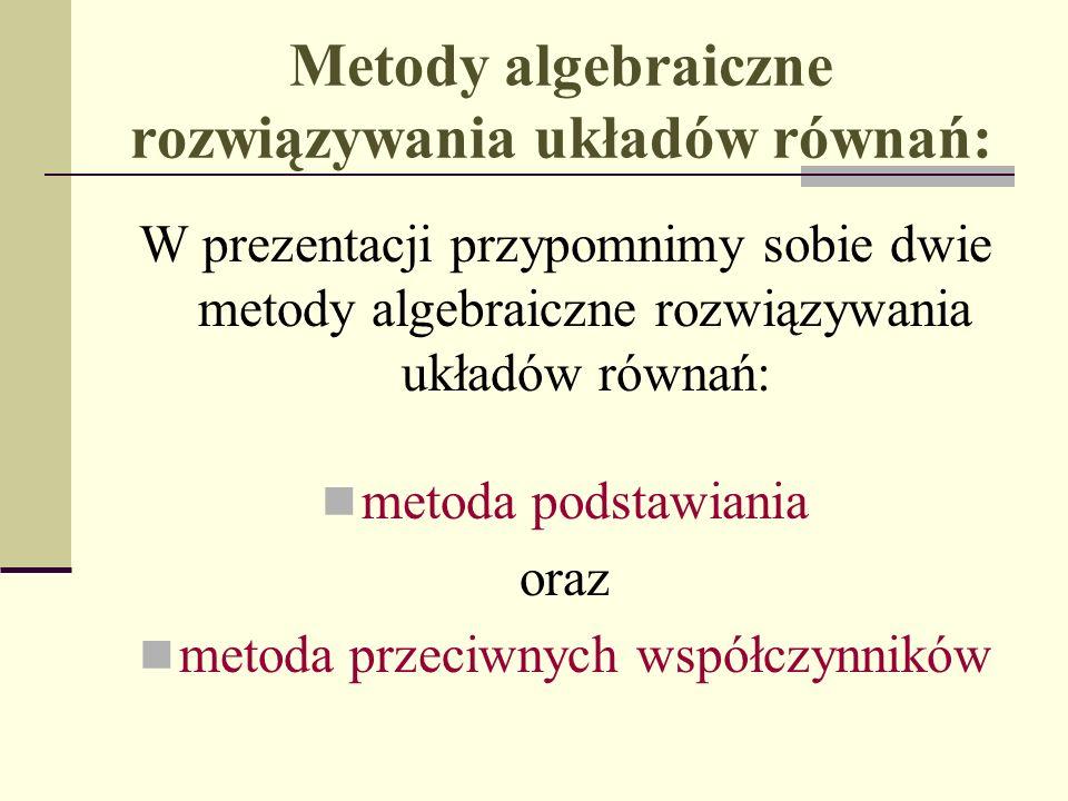 Metody algebraiczne rozwiązywania układów równań: W prezentacji przypomnimy sobie dwie metody algebraiczne rozwiązywania układów równań: metoda podsta