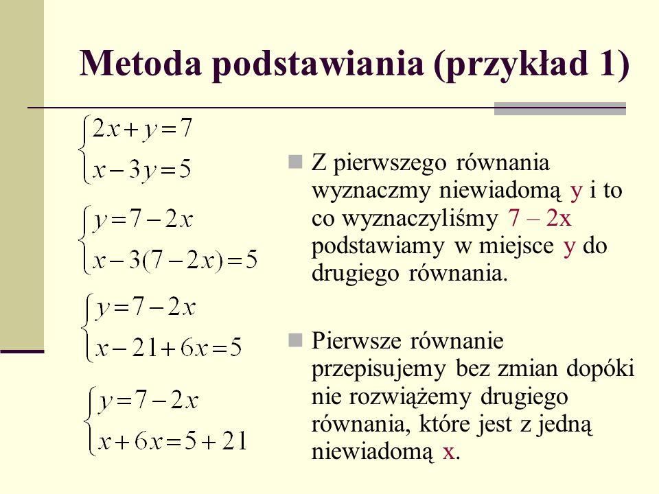 Metoda podstawiania (przykład 1) Z pierwszego równania wyznaczmy niewiadomą y i to co wyznaczyliśmy 7 – 2x podstawiamy w miejsce y do drugiego równani