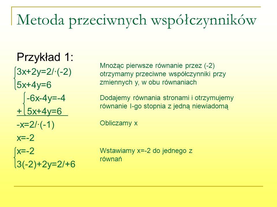 Metoda przeciwnych współczynników Przykład 1: 3x+2y=2/∙(-2) 5x+4y=6 -6x-4y=-4 + 5x+4y=6. -x=2/∙(-1) x=-2 3(-2)+2y=2/+6 Mnożąc pierwsze równanie przez