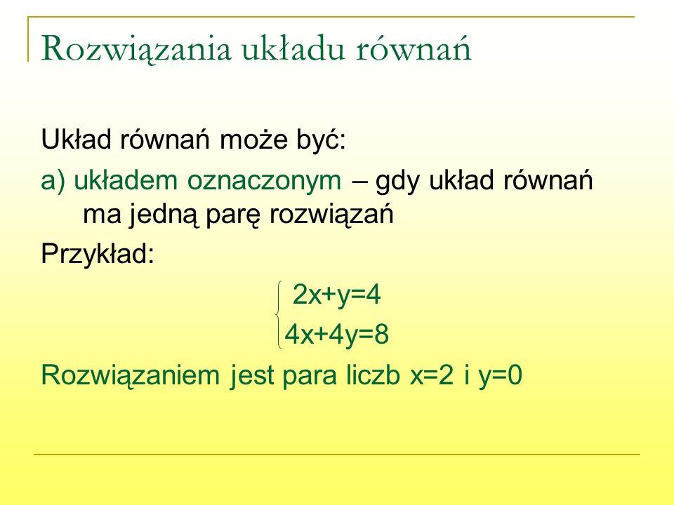Rozwiązania układu równań Układ równań może być: a) układem oznaczonym – gdy układ równań ma jedną parę rozwiązań Przykład: 2x+y=4 4x+4y=8 Rozwiązaniem jest para liczb x=2 i y=0