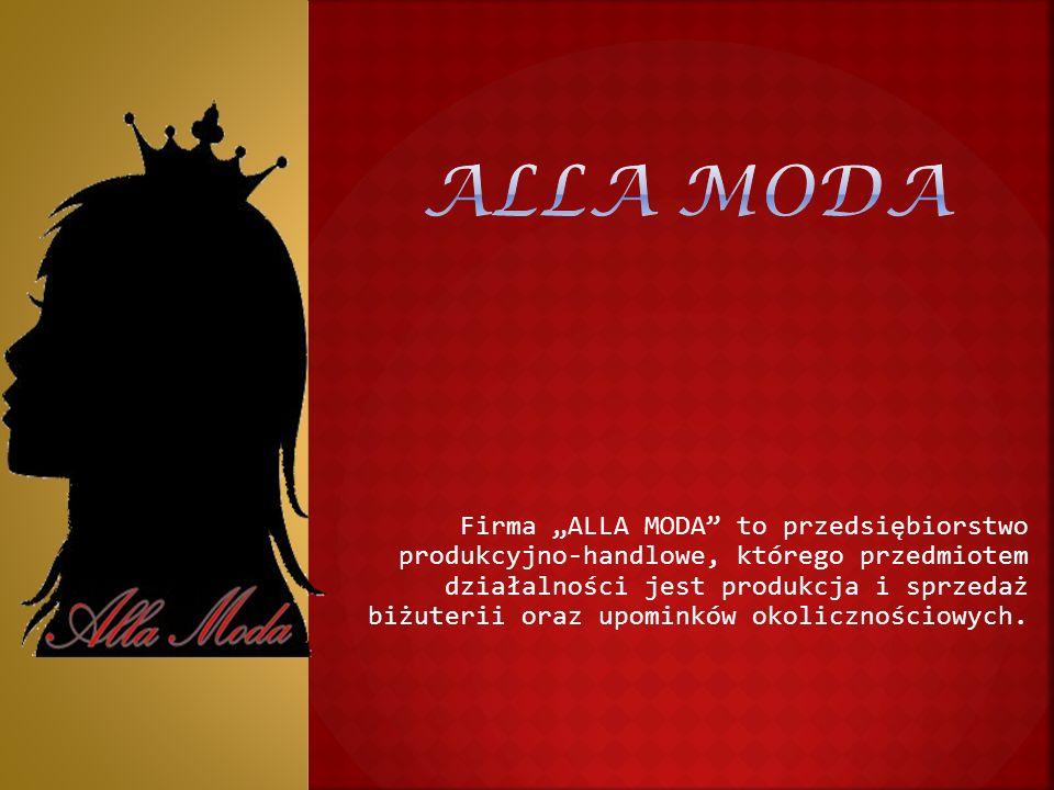 """Firma """"ALLA MODA to przedsiębiorstwo produkcyjno-handlowe, którego przedmiotem działalności jest produkcja i sprzedaż biżuterii oraz upominków okolicznościowych."""