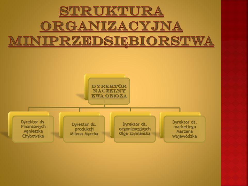 Dyrektor naczelny EWA ob ł oza Dyrektor ds. Finansowych Agnieszka Chybowska Dyrektor ds.